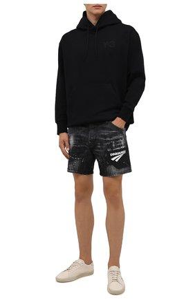 Мужские джинсовые шорты DSQUARED2 темно-серого цвета, арт. S74MU0675/S30357 | Фото 2 (Длина Шорты М: До колена; Материал внешний: Хлопок; Кросс-КТ: Деним; Принт: С принтом; Стили: Гранж)
