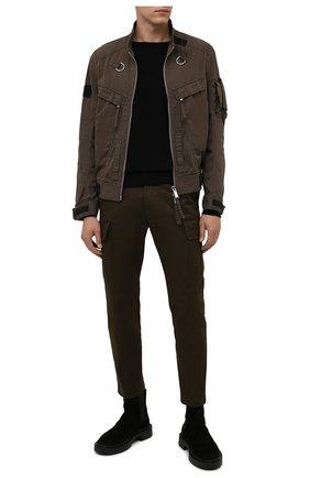 Мужские хлопковые брюки-карго DSQUARED2 хаки цвета, арт. S74KB0599/S39021 | Фото 2 (Материал внешний: Хлопок; Длина (брюки, джинсы): Стандартные; Силуэт М (брюки): Карго; Случай: Повседневный; Стили: Милитари)