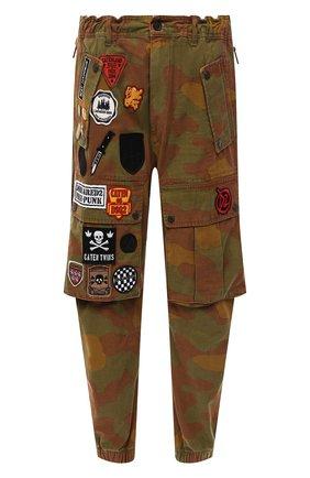 Мужские хлопковые джоггеры DSQUARED2 хаки цвета, арт. S74KB0560/S49605   Фото 1 (Материал внешний: Хлопок; Длина (брюки, джинсы): Укороченные; Силуэт М (брюки): Джоггеры, Карго; Стили: Милитари)