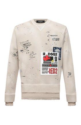 Мужской хлопковый свитшот DSQUARED2 бежевого цвета, арт. S74GU0512/S25030 | Фото 1 (Материал внешний: Хлопок; Рукава: Длинные; Длина (для топов): Стандартные; Мужское Кросс-КТ: свитшот-одежда; Принт: С принтом; Стили: Гранж)