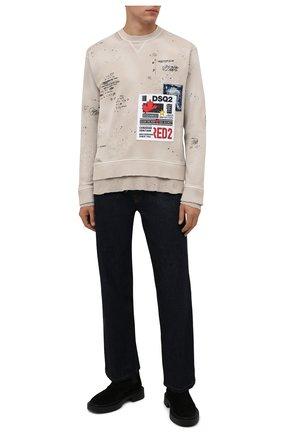 Мужской хлопковый свитшот DSQUARED2 бежевого цвета, арт. S74GU0512/S25030 | Фото 2 (Материал внешний: Хлопок; Рукава: Длинные; Длина (для топов): Стандартные; Мужское Кросс-КТ: свитшот-одежда; Принт: С принтом; Стили: Гранж)