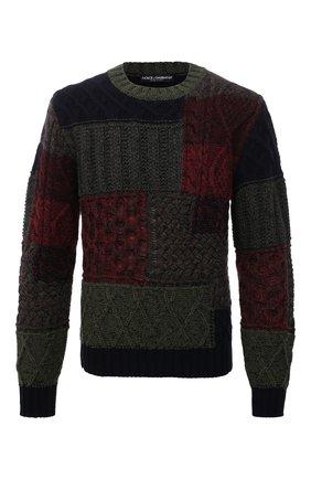 Мужской свитер из шерсти и кашемира DOLCE & GABBANA темно-зеленого цвета, арт. GXG08T/JBMV0   Фото 1 (Рукава: Длинные; Материал внешний: Шерсть; Длина (для топов): Стандартные; Мужское Кросс-КТ: Свитер-одежда; Принт: Без принта; Стили: Кэжуэл)