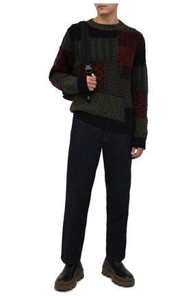 Мужской свитер из шерсти и кашемира DOLCE & GABBANA темно-зеленого цвета, арт. GXG08T/JBMV0   Фото 2 (Рукава: Длинные; Материал внешний: Шерсть; Длина (для топов): Стандартные; Мужское Кросс-КТ: Свитер-одежда; Принт: Без принта; Стили: Кэжуэл)