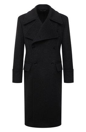 Мужской шерстяное пальто DOLCE & GABBANA темно-серого цвета, арт. G024ZT/FU2H5 | Фото 1 (Материал внешний: Шерсть; Рукава: Длинные; Длина (верхняя одежда): Длинные; Мужское Кросс-КТ: пальто-верхняя одежда; Стили: Кэжуэл)