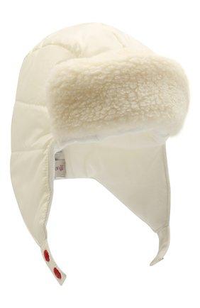Детского шапка-ушанка MONCLER белого цвета, арт. G2-951-3B600-10-68950 | Фото 1 (Материал: Текстиль, Синтетический материал)