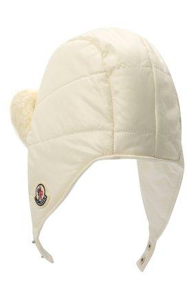Детского шапка-ушанка MONCLER белого цвета, арт. G2-951-3B600-10-68950 | Фото 2 (Материал: Текстиль, Синтетический материал)