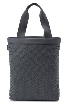 Мужская кожаная сумка BOTTEGA VENETA серого цвета, арт. 667278/V0E52   Фото 1 (Материал: Натуральная кожа)