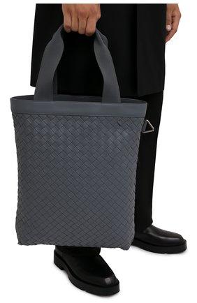 Мужская кожаная сумка BOTTEGA VENETA серого цвета, арт. 667278/V0E52   Фото 2 (Материал: Натуральная кожа)