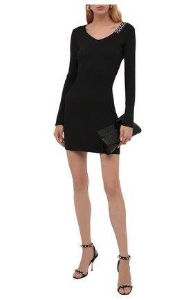 Женское платье OFF-WHITE черного цвета, арт. 0WHI048F21KNI001 | Фото 2 (Материал внешний: Синтетический материал; Рукава: Длинные; Длина Ж (юбки, платья, шорты): Мини; Стили: Гламурный; Кросс-КТ: Трикотаж; Женское Кросс-КТ: Платье-одежда, платье-футляр; Случай: Повседневный)