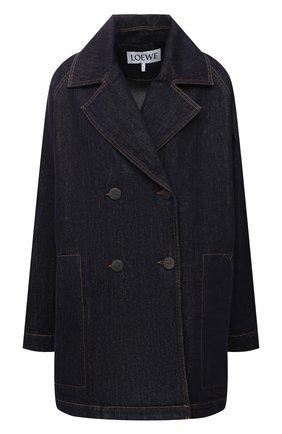 Женская джинсовая куртка LOEWE темно-синего цвета, арт. S359330XCQ   Фото 1 (Длина (верхняя одежда): До середины бедра; Рукава: Длинные; Материал внешний: Хлопок; Стили: Кэжуэл; Кросс-КТ: Деним, Куртка)