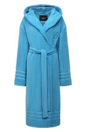 Женский хлопковый халат BALENCIAGA голубого цвета, арт. 662735/TKP25 | Фото 1 (Длина Ж (юбки, платья, шорты): Миди; Материал внешний: Хлопок; Рукава: Длинные)