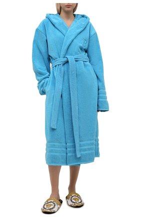 Женский хлопковый халат BALENCIAGA голубого цвета, арт. 662735/TKP25 | Фото 2 (Длина Ж (юбки, платья, шорты): Миди; Материал внешний: Хлопок; Рукава: Длинные)