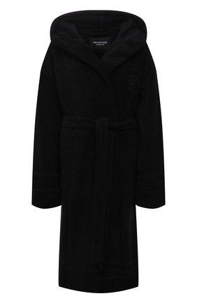 Женский хлопковый халат BALENCIAGA черного цвета, арт. 662735/TKP25 | Фото 1 (Материал внешний: Хлопок; Длина Ж (юбки, платья, шорты): Миди; Рукава: Длинные)