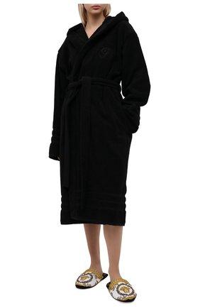 Женский хлопковый халат BALENCIAGA черного цвета, арт. 662735/TKP25 | Фото 2 (Материал внешний: Хлопок; Длина Ж (юбки, платья, шорты): Миди; Рукава: Длинные)