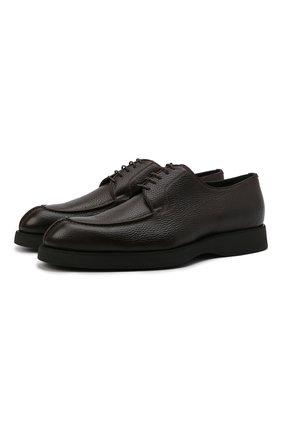 Мужские кожаные дерби BRIONI коричневого цвета, арт. QE2A0L/P7731 | Фото 1 (Материал внутренний: Натуральная кожа; Стили: Классический)