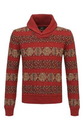 Мужской свитер изо льна и хлопка RRL красного цвета, арт. 782840964 | Фото 1 (Материал внешний: Лен; Длина (для топов): Стандартные; Рукава: Длинные; Мужское Кросс-КТ: Свитер-одежда)
