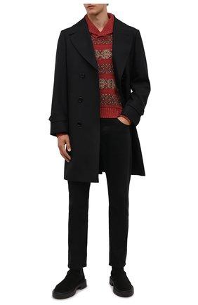 Мужской свитер изо льна и хлопка RRL красного цвета, арт. 782840964 | Фото 2 (Материал внешний: Лен; Длина (для топов): Стандартные; Рукава: Длинные; Мужское Кросс-КТ: Свитер-одежда)
