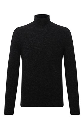 Мужской свитер TRANSIT темно-серого цвета, арт. CFUTRP17520 | Фото 1 (Рукава: Длинные; Материал внешний: Синтетический материал; Длина (для топов): Стандартные; Мужское Кросс-КТ: Свитер-одежда; Принт: Без принта; Стили: Кэжуэл)