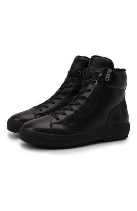 Мужские кожаные кеды BOGNER черного цвета, арт. 12142243/ANCH0RAGE M 4 C | Фото 1 (Материал утеплителя: Натуральный мех; Подошва: Массивная)