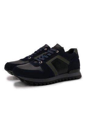 Мужские комбинированные кроссовки BOGNER темно-синего цвета, арт. 12149381/SEATTLE M 11 | Фото 1 (Материал внутренний: Натуральная кожа; Подошва: Плоская; Стили: Классический)