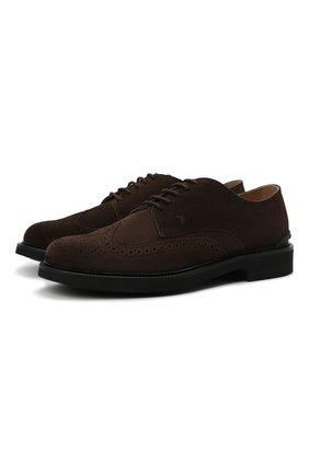 Мужские замшевые дерби TOD'S темно-коричневого цвета, арт. XXM06H0EP60RE0 | Фото 1 (Материал внутренний: Натуральная кожа; Стили: Классический; Материал внешний: Замша; Мужское Кросс-КТ: Броги-обувь)