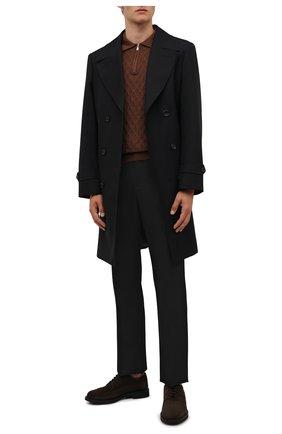Мужские замшевые дерби TOD'S темно-коричневого цвета, арт. XXM06H0EP60RE0 | Фото 2 (Материал внутренний: Натуральная кожа; Стили: Классический; Материал внешний: Замша; Мужское Кросс-КТ: Броги-обувь)