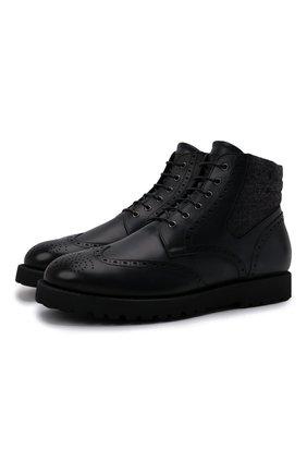 Мужские комбинированные ботинки W.GIBBS темно-синего цвета, арт. 0929070/1426 | Фото 1 (Материал утеплителя: Натуральный мех; Материал внешний: Текстиль; Мужское Кросс-КТ: Ботинки-обувь, зимние ботинки; Подошва: Плоская)