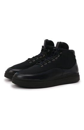 Мужские замшевые ботинки W.GIBBS темно-синего цвета, арт. 3050066/2504 | Фото 1 (Подошва: Массивная; Материал утеплителя: Натуральный мех; Мужское Кросс-КТ: Ботинки-обувь, зимние ботинки; Материал внешний: Замша)