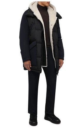 Мужские замшевые ботинки W.GIBBS темно-синего цвета, арт. 3050066/2504 | Фото 2 (Подошва: Массивная; Материал утеплителя: Натуральный мех; Мужское Кросс-КТ: Ботинки-обувь, зимние ботинки; Материал внешний: Замша)