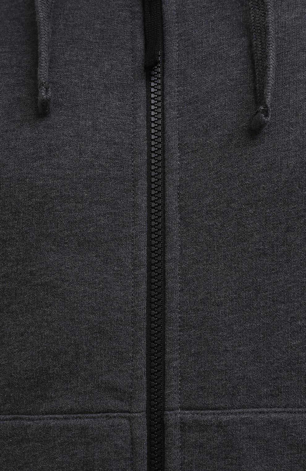 Мужской хлопковая толстовка STONE ISLAND темно-серого цвета, арт. 751564220   Фото 5 (Рукава: Длинные; Мужское Кросс-КТ: Толстовка-одежда; Длина (для топов): Стандартные; Материал внешний: Хлопок; Стили: Кэжуэл)