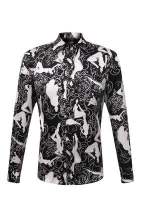 Мужская шелковая рубашка AMIRI черного цвета, арт. MSL018-001 | Фото 1 (Материал внешний: Шелк; Случай: Повседневный; Принт: С принтом; Рукава: Длинные; Воротник: Кент; Манжеты: На пуговицах; Стили: Романтичный, Минимализм; Длина (для топов): Стандартные)