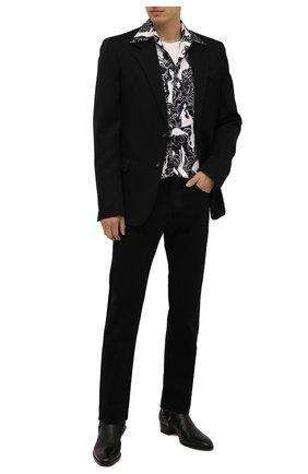 Мужская шелковая рубашка AMIRI черного цвета, арт. MSL018-001 | Фото 2 (Материал внешний: Шелк; Случай: Повседневный; Принт: С принтом; Рукава: Длинные; Воротник: Кент; Манжеты: На пуговицах; Стили: Романтичный, Минимализм; Длина (для топов): Стандартные)