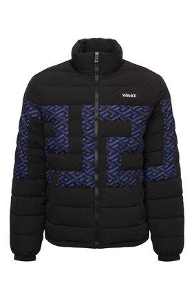 Мужская пуховая куртка VERSACE черного цвета, арт. 1002677/1A01932 | Фото 1 (Рукава: Длинные; Материал внешний: Синтетический материал; Длина (верхняя одежда): Короткие; Материал подклада: Синтетический материал; Материал утеплителя: Пух и перо; Кросс-КТ: Куртка; Мужское Кросс-КТ: пуховик-короткий; Стили: Спорт-шик)