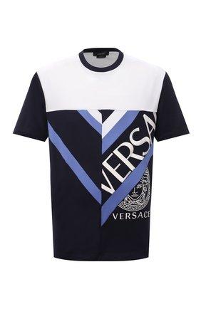 Мужская хлопковая футболка VERSACE темно-синего цвета, арт. 1001412/1A01041 | Фото 1 (Материал внешний: Хлопок; Принт: С принтом; Рукава: Короткие; Стили: Кэжуэл; Длина (для топов): Стандартные)