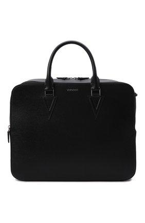 Мужская кожаная сумка для ноутбука v VERSACE черного цвета, арт. 1000747/1A00593 | Фото 1 (Материал: Натуральная кожа; Ремень/цепочка: На ремешке)