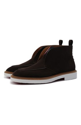 Мужские замшевые ботинки citycrepe CHRISTIAN LOUBOUTIN темно-коричневого цвета, арт. 3210523/CITYCREPE FLAT | Фото 1 (Материал внутренний: Натуральная кожа; Подошва: Плоская; Мужское Кросс-КТ: Ботинки-обувь; Материал внешний: Замша)