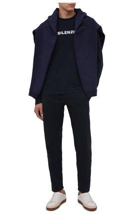 Мужская хлопковый лонгслив ASPESI темно-синего цвета, арт. W1 A AY50 A335 | Фото 2 (Материал внешний: Хлопок; Рукава: Длинные; Длина (для топов): Стандартные; Принт: С принтом; Стили: Кэжуэл)