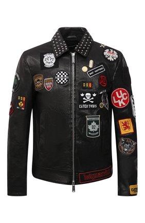 Мужская кожаная куртка DSQUARED2 черного цвета, арт. S74AM1212/SY1564 | Фото 1 (Материал подклада: Хлопок; Длина (верхняя одежда): Короткие; Рукава: Длинные; Кросс-КТ: Куртка; Мужское Кросс-КТ: Кожа и замша; Стили: Панк)