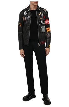 Мужская кожаная куртка DSQUARED2 черного цвета, арт. S74AM1212/SY1564 | Фото 2 (Материал подклада: Хлопок; Длина (верхняя одежда): Короткие; Рукава: Длинные; Кросс-КТ: Куртка; Мужское Кросс-КТ: Кожа и замша; Стили: Панк)