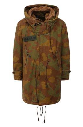 Мужская утепленная парка DSQUARED2 хаки цвета, арт. S74AA0233/S49605 | Фото 1 (Рукава: Длинные; Материал внешний: Хлопок; Материал подклада: Синтетический материал; Стили: Милитари; Длина (верхняя одежда): До середины бедра; Кросс-КТ: Куртка)