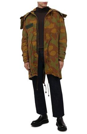 Мужская утепленная парка DSQUARED2 хаки цвета, арт. S74AA0233/S49605   Фото 2 (Рукава: Длинные; Материал внешний: Хлопок; Материал подклада: Синтетический материал; Стили: Милитари; Длина (верхняя одежда): До середины бедра; Кросс-КТ: Куртка)