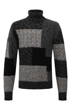 Мужской свитер из шерсти и кашемира DOLCE & GABBANA серого цвета, арт. GXG03T/JBMU8 | Фото 1 (Материал внешний: Шерсть; Мужское Кросс-КТ: Свитер-одежда; Принт: Без принта; Стили: Кэжуэл; Рукава: Длинные; Длина (для топов): Стандартные)