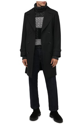 Мужской свитер из шерсти и кашемира DOLCE & GABBANA серого цвета, арт. GXG03T/JBMU8 | Фото 2 (Материал внешний: Шерсть; Мужское Кросс-КТ: Свитер-одежда; Принт: Без принта; Стили: Кэжуэл; Рукава: Длинные; Длина (для топов): Стандартные)