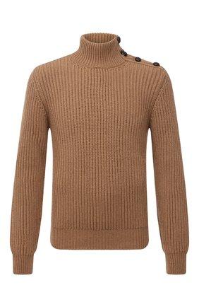 Мужской шерстяной свитер DOLCE & GABBANA бежевого цвета, арт. GXB58T/JAM3T | Фото 1 (Материал внешний: Шерсть; Длина (для топов): Стандартные; Рукава: Длинные; Мужское Кросс-КТ: Свитер-одежда; Принт: Без принта; Стили: Кэжуэл)