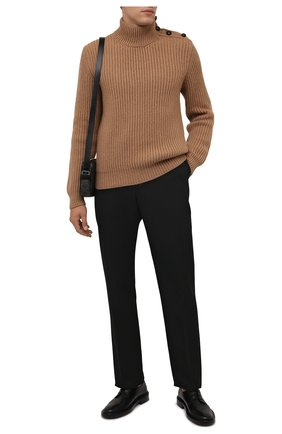 Мужской шерстяной свитер DOLCE & GABBANA бежевого цвета, арт. GXB58T/JAM3T | Фото 2 (Материал внешний: Шерсть; Длина (для топов): Стандартные; Рукава: Длинные; Мужское Кросс-КТ: Свитер-одежда; Принт: Без принта; Стили: Кэжуэл)