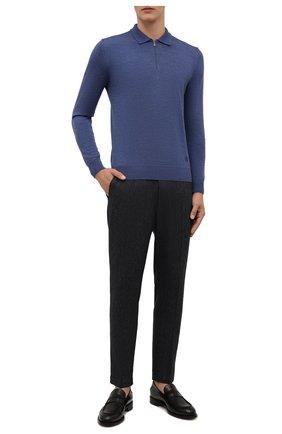 Мужские брюки из хлопка и шерсти DOLCE & GABBANA темно-серого цвета, арт. GW13ET/FBMDB   Фото 2 (Материал внешний: Шерсть, Хлопок; Случай: Повседневный; Стили: Кэжуэл; Длина (брюки, джинсы): Стандартные)