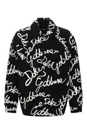 Мужская утепленная куртка DOLCE & GABBANA черного цвета, арт. G9VY0T/HU7IH   Фото 1 (Длина (верхняя одежда): До середины бедра; Рукава: Длинные; Материал внешний: Синтетический материал, Хлопок; Материал подклада: Синтетический материал; Кросс-КТ: Куртка; Мужское Кросс-КТ: утепленные куртки; Стили: Кэжуэл)