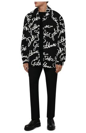 Мужская утепленная куртка DOLCE & GABBANA черного цвета, арт. G9VY0T/HU7IH   Фото 2 (Длина (верхняя одежда): До середины бедра; Рукава: Длинные; Материал внешний: Синтетический материал, Хлопок; Материал подклада: Синтетический материал; Кросс-КТ: Куртка; Мужское Кросс-КТ: утепленные куртки; Стили: Кэжуэл)