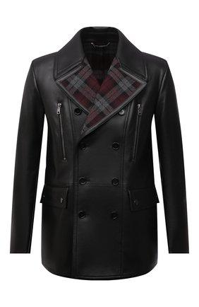Мужская кожаная куртка DOLCE & GABBANA черного цвета, арт. G9UV2L/GES85   Фото 1 (Рукава: Длинные; Длина (верхняя одежда): Короткие; Кросс-КТ: Куртка; Мужское Кросс-КТ: Кожа и замша; Стили: Кэжуэл)
