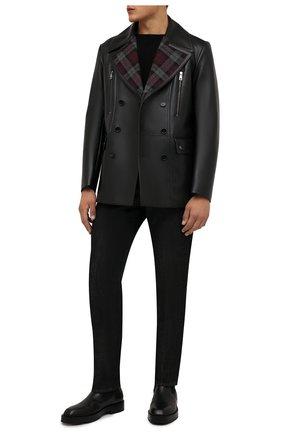 Мужская кожаная куртка DOLCE & GABBANA черного цвета, арт. G9UV2L/GES85   Фото 2 (Рукава: Длинные; Длина (верхняя одежда): Короткие; Кросс-КТ: Куртка; Мужское Кросс-КТ: Кожа и замша; Стили: Кэжуэл)